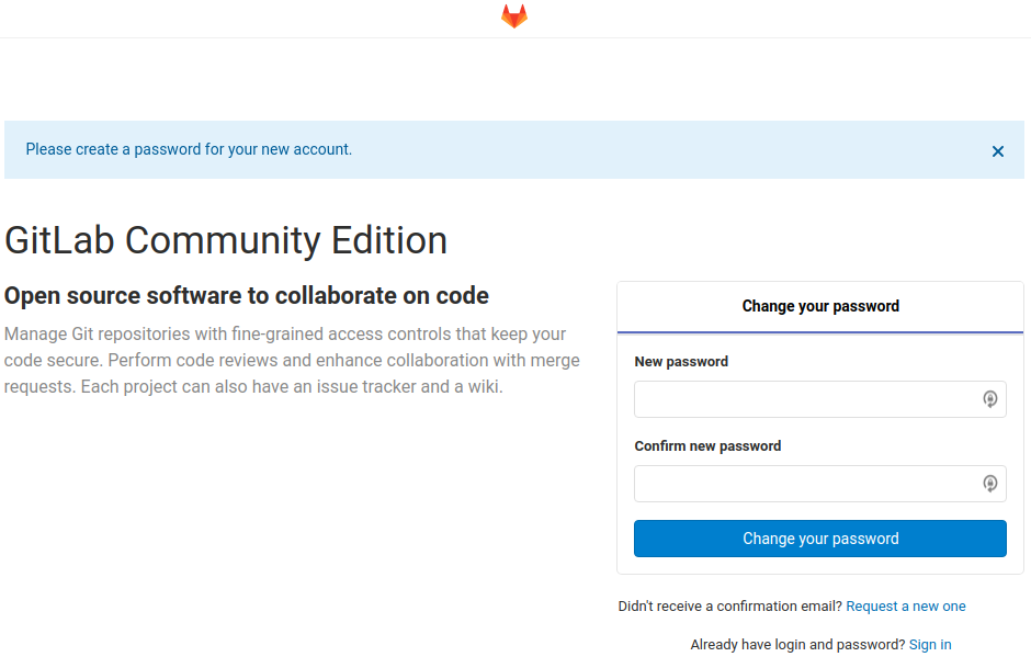 GitLab on a DiskStation - GitLab Set Password Page