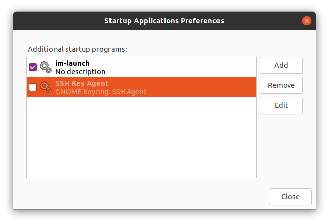 Screenshot of gnome-session-properties with disabled SSH Key Agent